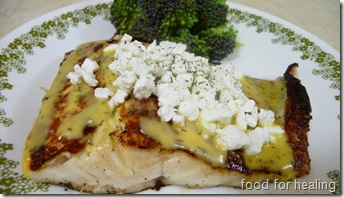 pike with sauce and cottage cheese
